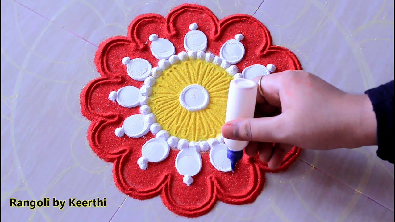 rangoli design with colors by keerthi