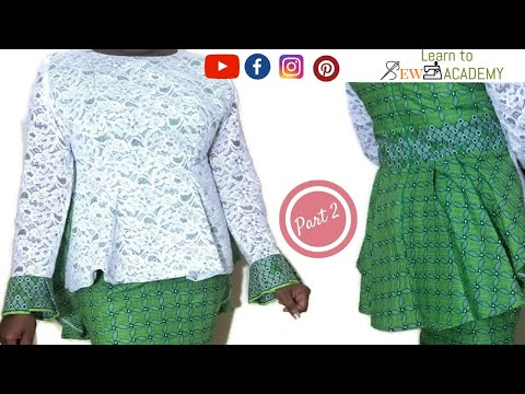 How to Make a Blouse with NO PATTERN Part 2 | Ankara Lace Top | 6 piece cutting style