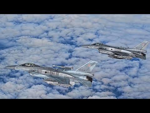 Polish F-16 Fighting Falcons Escort U.S. B-52 Bomber