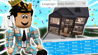 building a bloxburg house with NEW BABY BABBLE LANGUAGE... doo doo