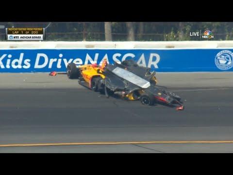 IndyCar Series 2019. Pocono Raceway. Huge Crash (All Angles)