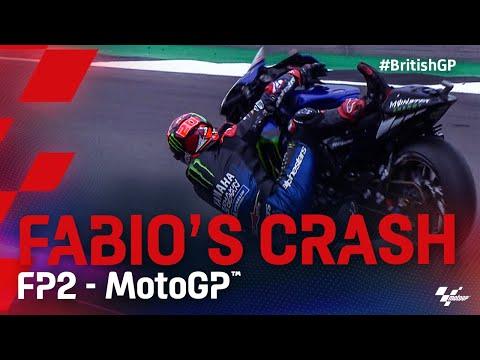 MotoGP 2021 第12戦イギリス ポイントリーダーのファビオが転倒クラッシュシーン動画
