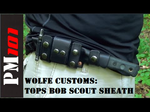 Wolfe Customs: TOPS BOB Fieldcraft Knife Custom Leather Scout Sheath Mp3