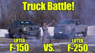 TRUCK BATTLE! LIFTED 2019 Ford F150 Vs LIFTED Ford F250 SCA Performance Armed Forces Edition!