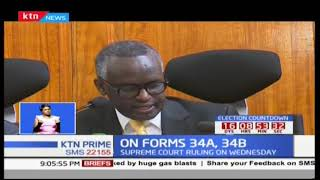 Ruling on interpretation of verification of IEBC's forms 34A and B to be decided Wednesday 11th, 201