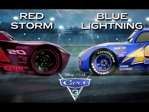 CARS 3 | Red Jackson Storm vs Blue Lightning McQueen | Edited/Review Trailer Final
