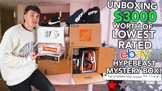 Unboxing $3000 Worth of The LOWEST Rated EBAY Hypebeast Mystery Boxes!