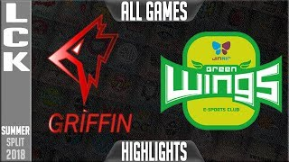 GRF vs JAG Highlights ALL GAMES | LCK Summer 2018 Week 7 Day 1 | Griffin vs Jin Air Greenwings