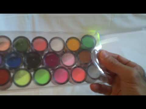 18 colori in polvere uv acrilico polvere scintillio smalto per unghie corredo art set