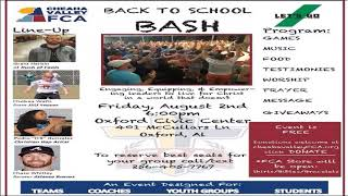 """Cheaha Valley FCA Hosting """"Back to School Bash"""""""