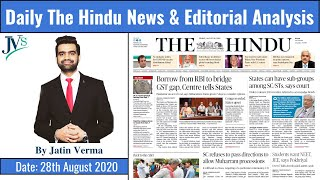 28th August 2020: Daily The Hindu News & Editorial Analysis by Jatin Verma