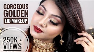 Gorgeous GOLDEN EID MAKEUP TUTORIAL 2018 - Eid Night Look / Bronze Party Makeup