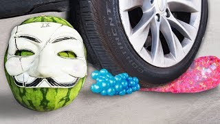Crushing Crunchy & Soft Things by Car! EXPERIMENT: CAR VS Balloons, Squishy, Fruit, Hackers & more
