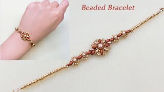 DIY Beaded Vintage Bracelet with Bronze Red and Gold Two Hole Superduo Beads and Gold Pearls 复古风串珠手链