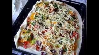 Пицца, Мясная пицца по-домашнему.