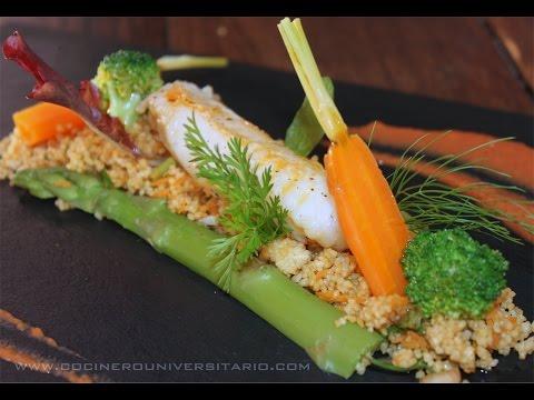 Cous Cous con rape y verduras con salsa de gambas