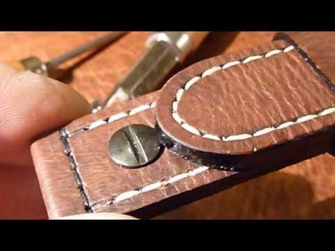 Handgenähtes Uhrenband 130 / 80 24mm Vintage Mittelbraun, Ziernaht, Niete