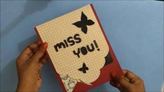 Handmade MISS YOU CARD  idea for best friend | complete tutorial