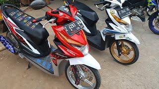 Ragam Motor Unik Modifikasi Motor Beat Fi Merah Putih