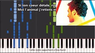 Amir   États D'amour   Karaoke  Piano Synthesia Tutorial (+ Paroles Et Partition)