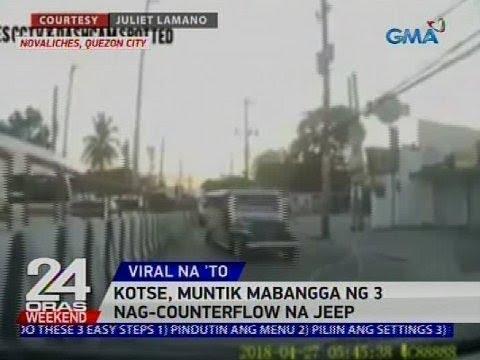 Kotse, muntik mabangga ng 3 nag-counterflow na jeep