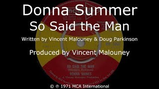 Donna Summer - So Said the Man LYRICS - HQ 1971