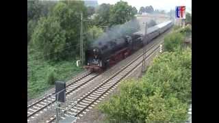 preview picture of video 'Steam Train / Dampfzug mit BR01, Uhingen, 20.09.2009.'