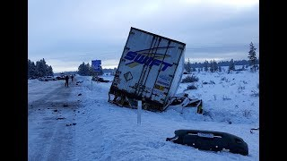 Дальнобой США. Начало зимы 2019. Аварии грузовиков. Подборка минувшего рейса.
