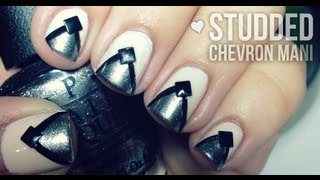 Simple Studded Chevron Nails