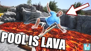 Giant Backyard Waterpark The Pool Is Lava CHALLENGE!