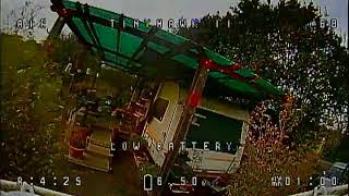 Learn to fly in fpv, Tinyhawk II flight. DVR recording, low quality.