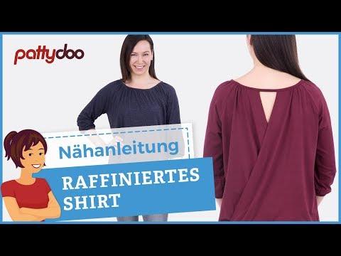 Damenshirt mit raffiniertem Rückenausschnitt nähen - Mit Raglanärmeln + Bündchen