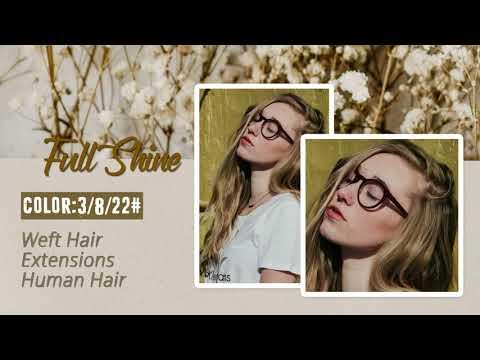 Full Shine Sew In Hair Weft Bundles 100% Remy Human Hair Balayage (#3/8/22)