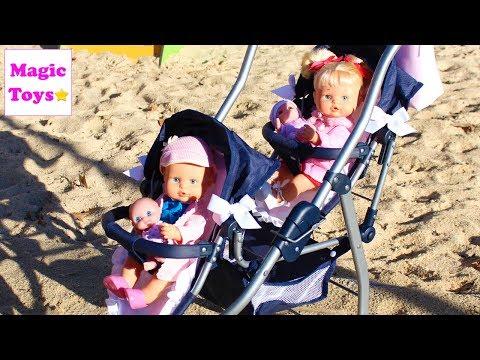 Bebés NENUCO Hermanitas Traviesas estrenan Carrito de Paseo van al Parque y a los Caballitos