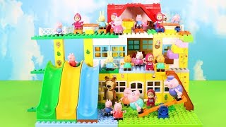 Peppa Pig House Construction Sets - Lego Duplo House With Water Slide Creations Toys For Kids #9