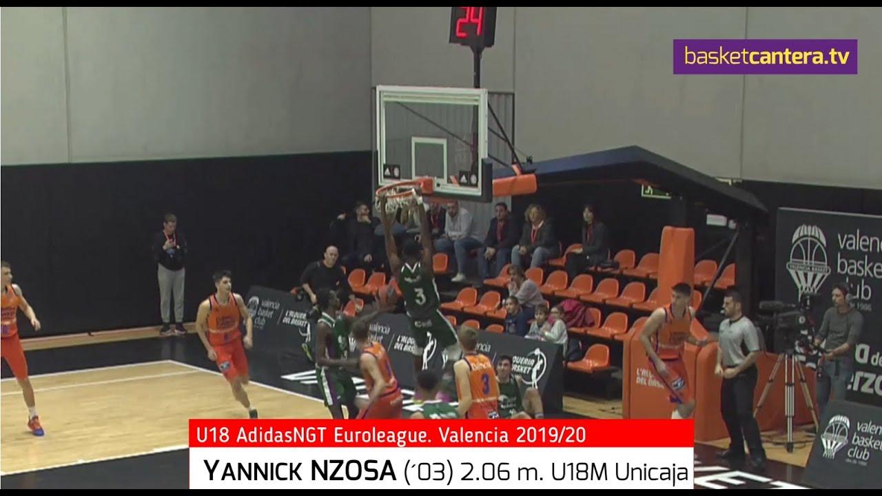 YANNICK NZOSA (´03) 2.06 m. Unicaja Málaga. Highlights U18 Euroleague AdidasNGT. (BasketCantera.TV)