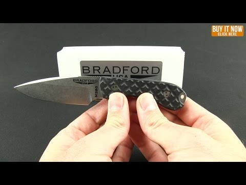 "Bradford Knives Guardian3 Fixed Blade Green/Black (3.5"" False Edge Stonewash)"
