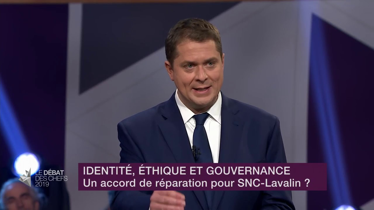 Andrew Scheer answers a question about SNC-Lavalin