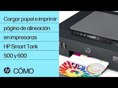 Cargar papel e imprimir una página de alineación en las series de impresoras HP Smart Tank 500 y 600