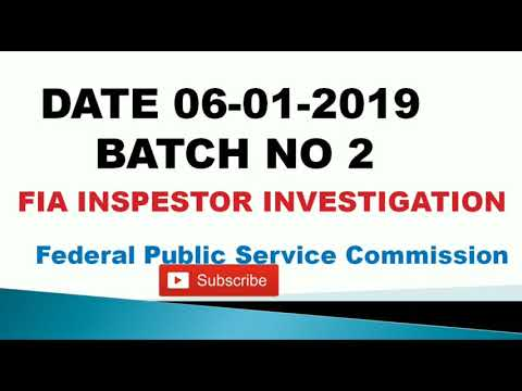 FIA FPSC Inspector investigation today sloved paper of Batch 4 7th