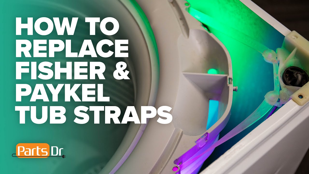 Step-by-step instructions on how to replace the tub ring straps on a Fisher & Paykel washing machine.