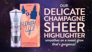 Watt's Up! Benefit Cosmetics cream-to-powder delicate champagne sheer highlighter gives an instant glow over or under makeup.  Buy watt's up here: http://bit.ly/29gNrPH  Subscribe to our YouTube channel for more videos! https://www.youtube.com/benefitukroi