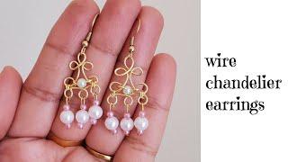 Wire Wrapped Chandelier Earrings/wire Wrapped Pearl Drop Earrings/handmade Jewelry