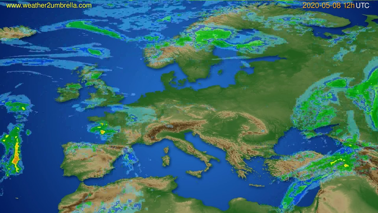 Radar forecast Europe // modelrun: 00h UTC 2020-05-08