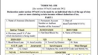 How to fill Form 15H?   কিভাবে 15H ফর্ম পূরণ করবেন? [Bangla]