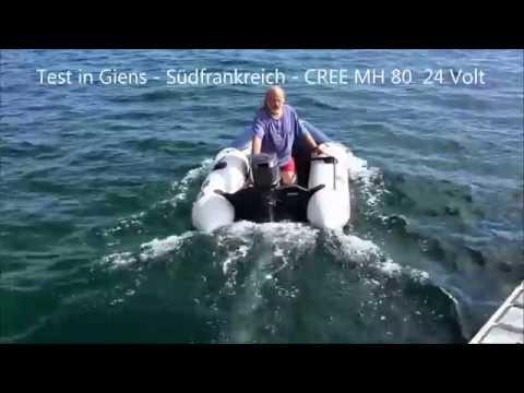 Testserie / Test: Elektroantrieb Elektroaußenborder CREE an unterschiedlichen Booten