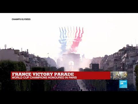 France victory parade: air force flies over Champs-Élysées