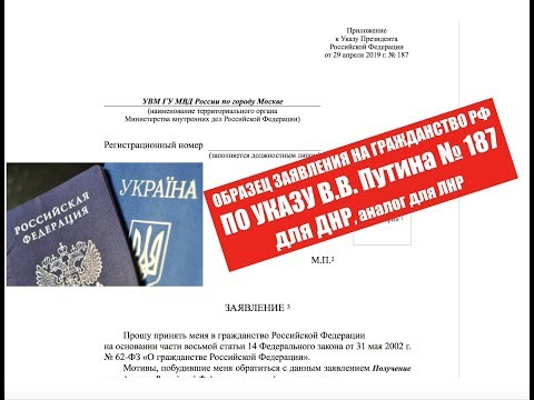 Заявление на упрощенное гражданство РФ УКАЗ 187 Путина. ОБРАЗЕЦ для ДНР.  ФМС.  миграционный юрист.