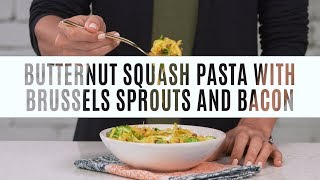 Butternut Squash Pasta With Brussels Sprouts & Bacon Recipe | Pampered Chef