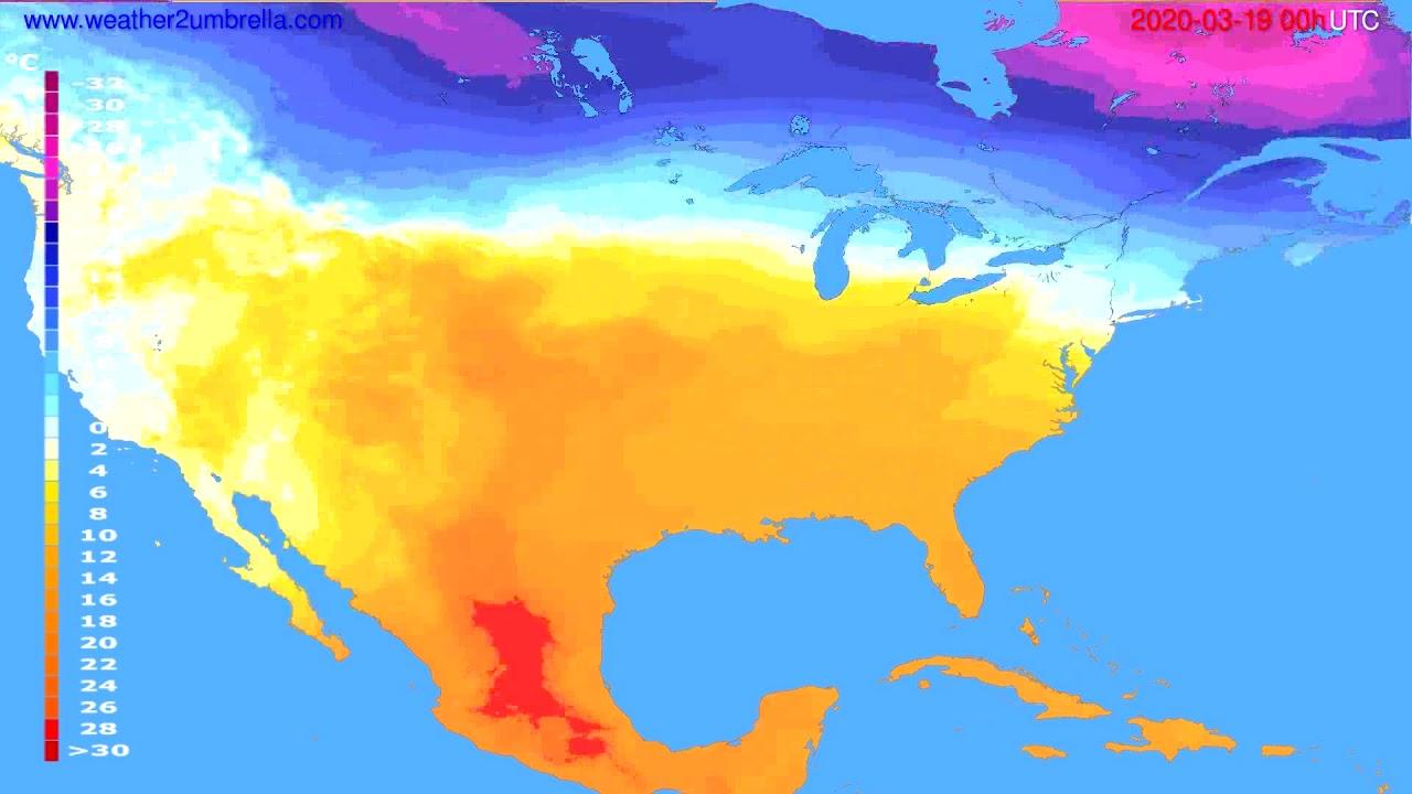 Temperature forecast USA & Canada // modelrun: 00h UTC 2020-03-18